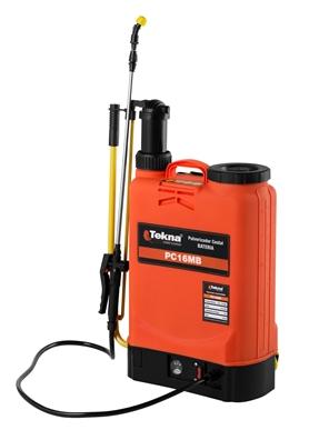 Pulverizador Costal Tekna Pc16mbtk Bateria 8AH / Bomba Manual Plastica / Tanque 16l
