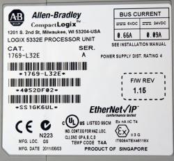 Allen Bradley Compactlogix Cpu 1769-l32e Ethernet
