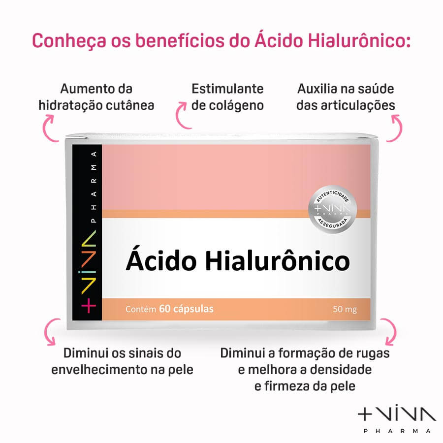 Ácido Hialurônico 50mg 60Cápsulas (3 Unidades)