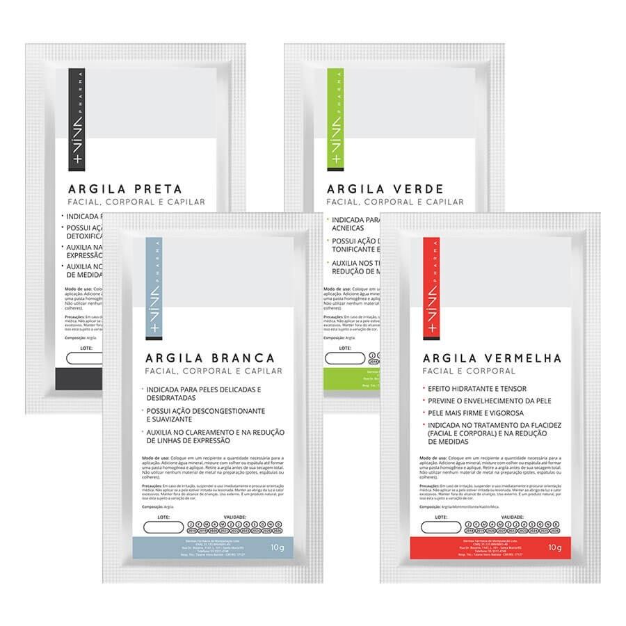 Argila Branca 10g + Argila Vermelha 10g + Argila Preta 10g + Argila Verde 10g | Facial corporal e capilar