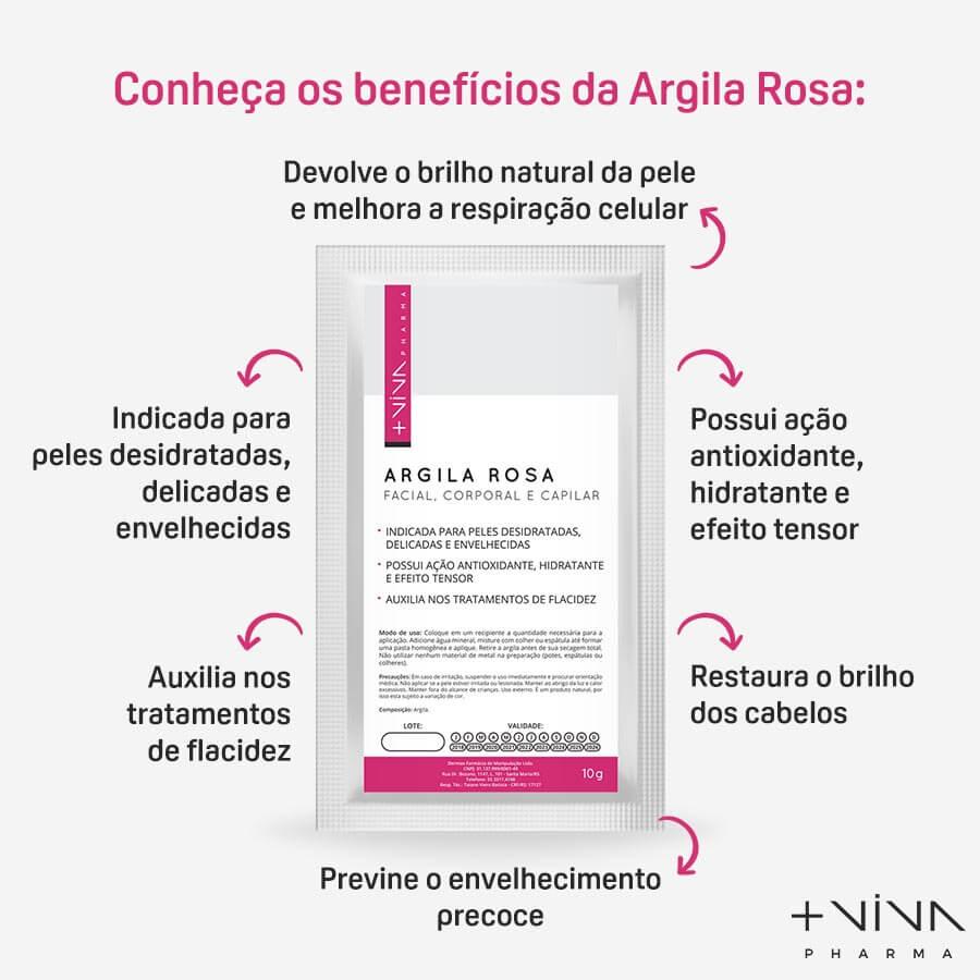 Argila Rosa Facial, Corporal e Capilar 10g