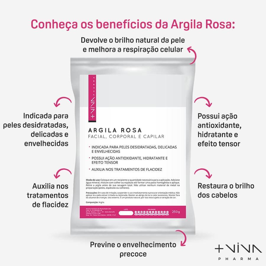 Argila Rosa Facial, Corporal e Capilar 250g