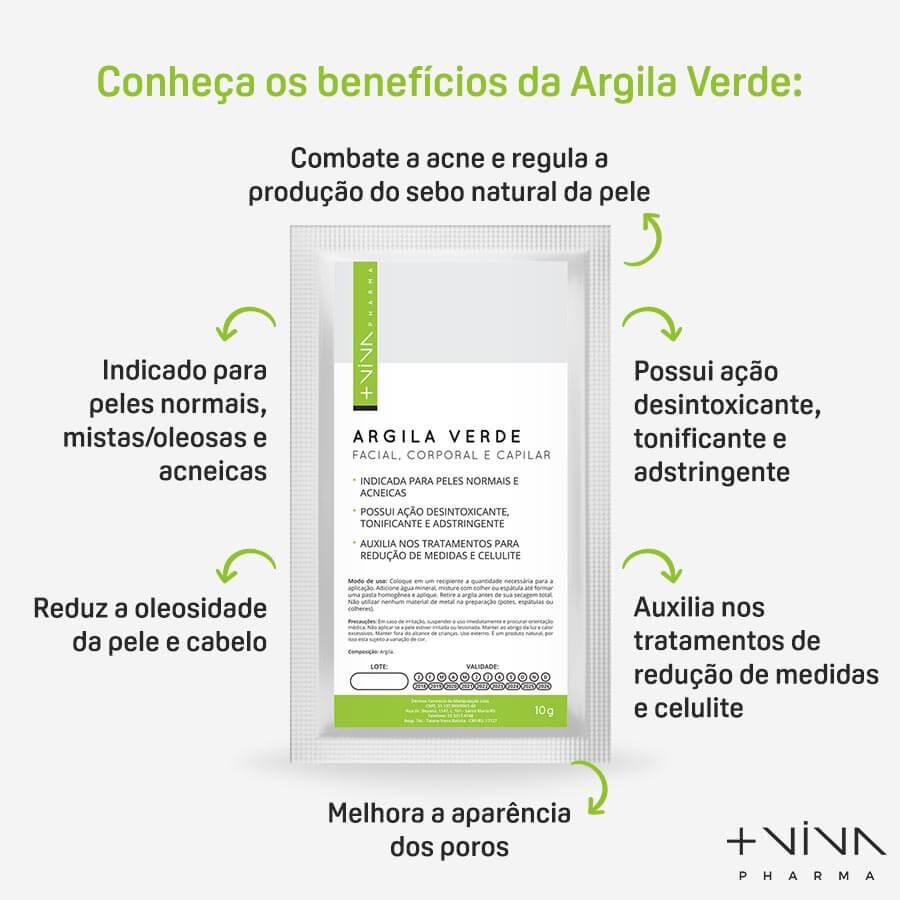 Argila Verde Facial, Corporal e Capilar 10g