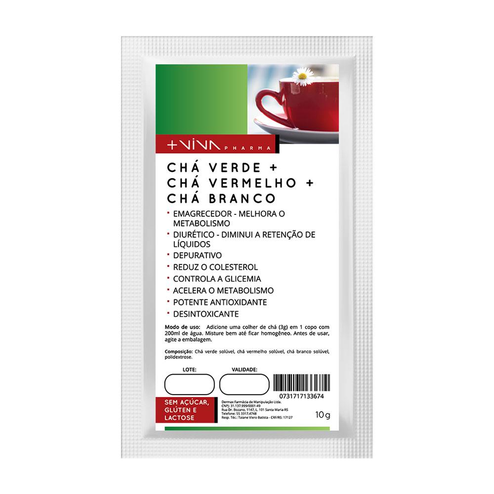 Chá Verde + Chá Vermelho + Chá Branco Solúvel 10g-Morango-Sem Sucralose