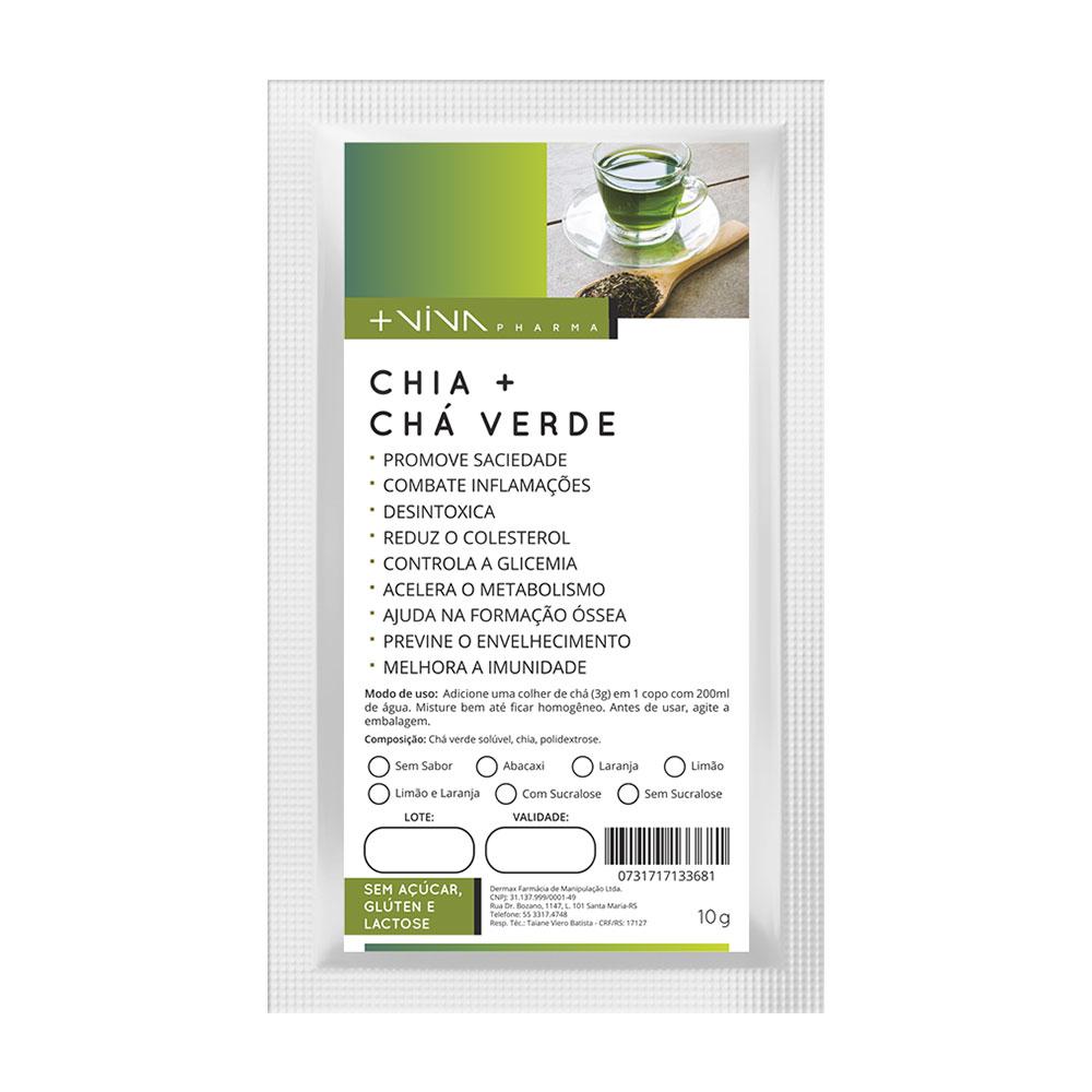 Chia + Chá Verde 10g-Limão e Laranja-Com Sucralose