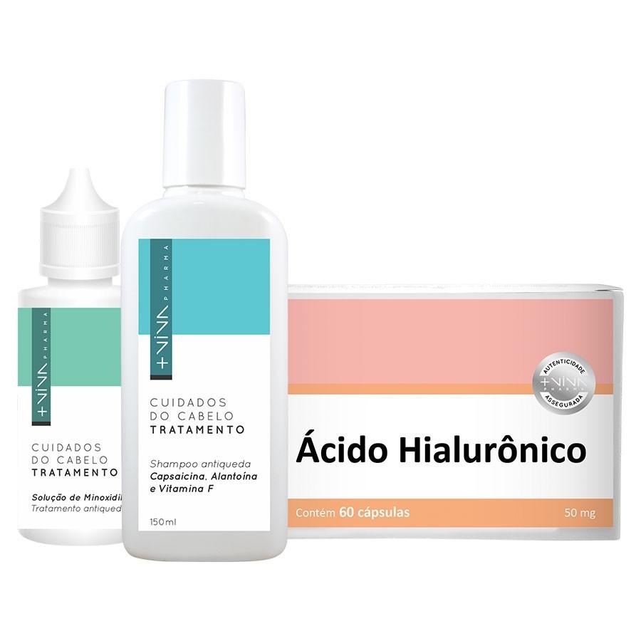 COMBO| Ácido Hialurônico + Shampoo Antiqueda Capsaicina, Alantoína e Vitamina F + Tratamento Antiqueda - Solução de Mino