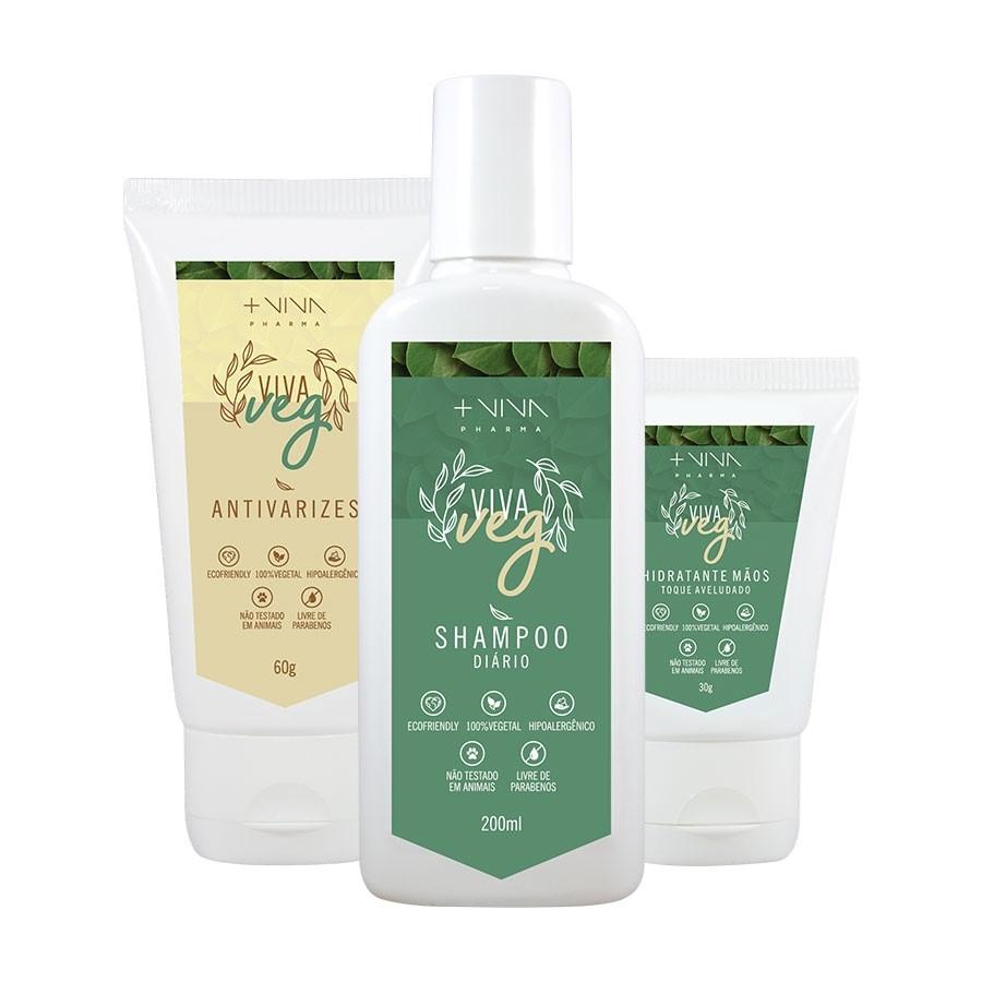 COMBO| Antivarizes Vegano + Shampoo Diário Vegano + Hidratante Mãos Vegano