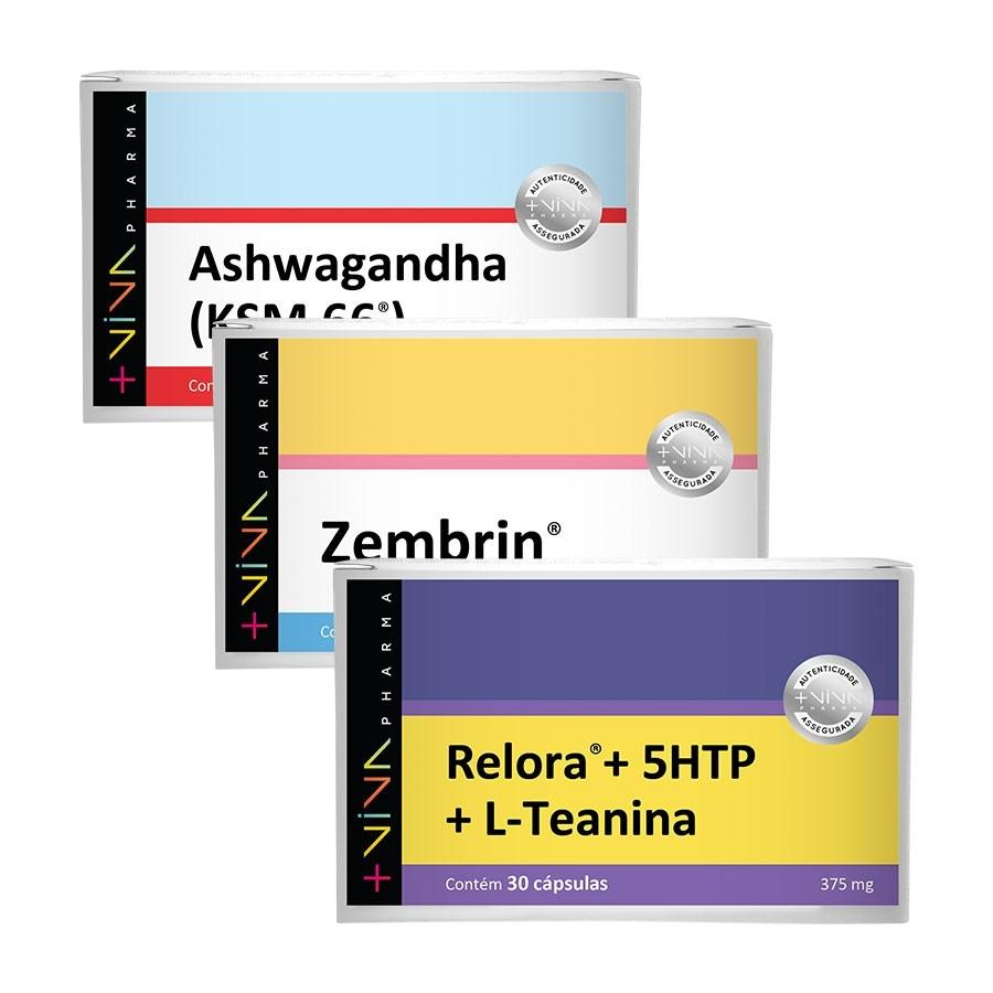 COMBO | Ashwagandha - KSM 66® 300mg + Relora® + 5 HTP + L-Teanina 375mg + Zembrin®