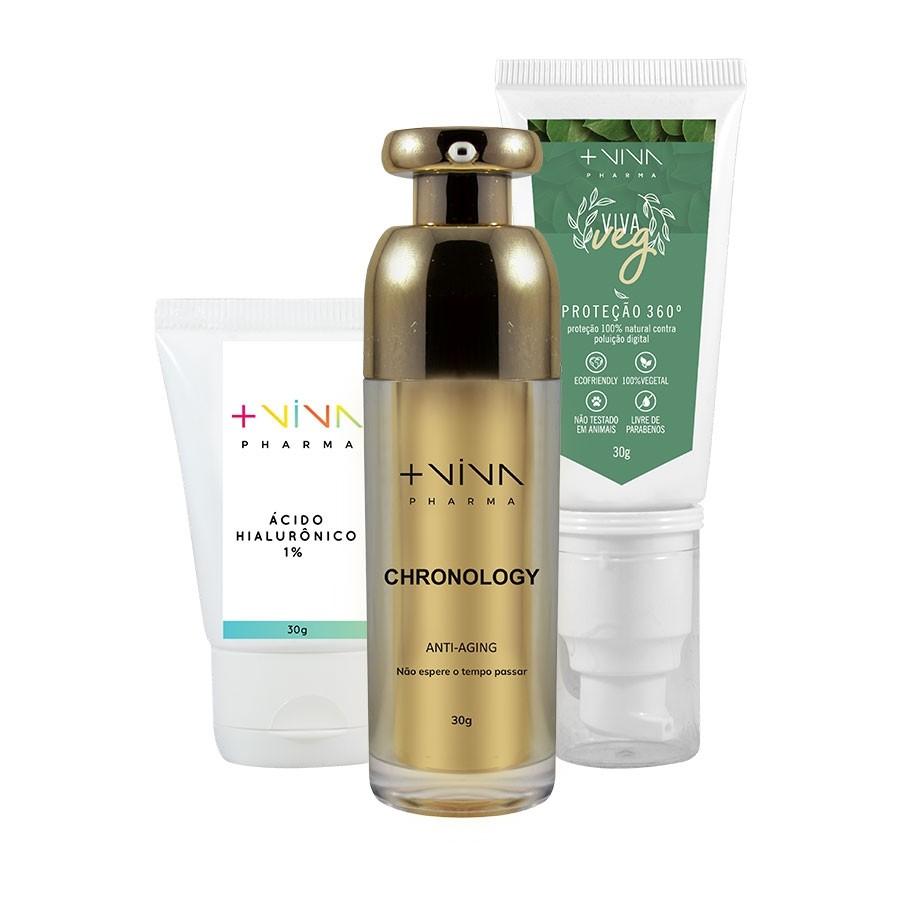 COMBO| Chronology - Anti-aging + Proteção 360º + Gel Creme com Ácido Hialurônico 1%