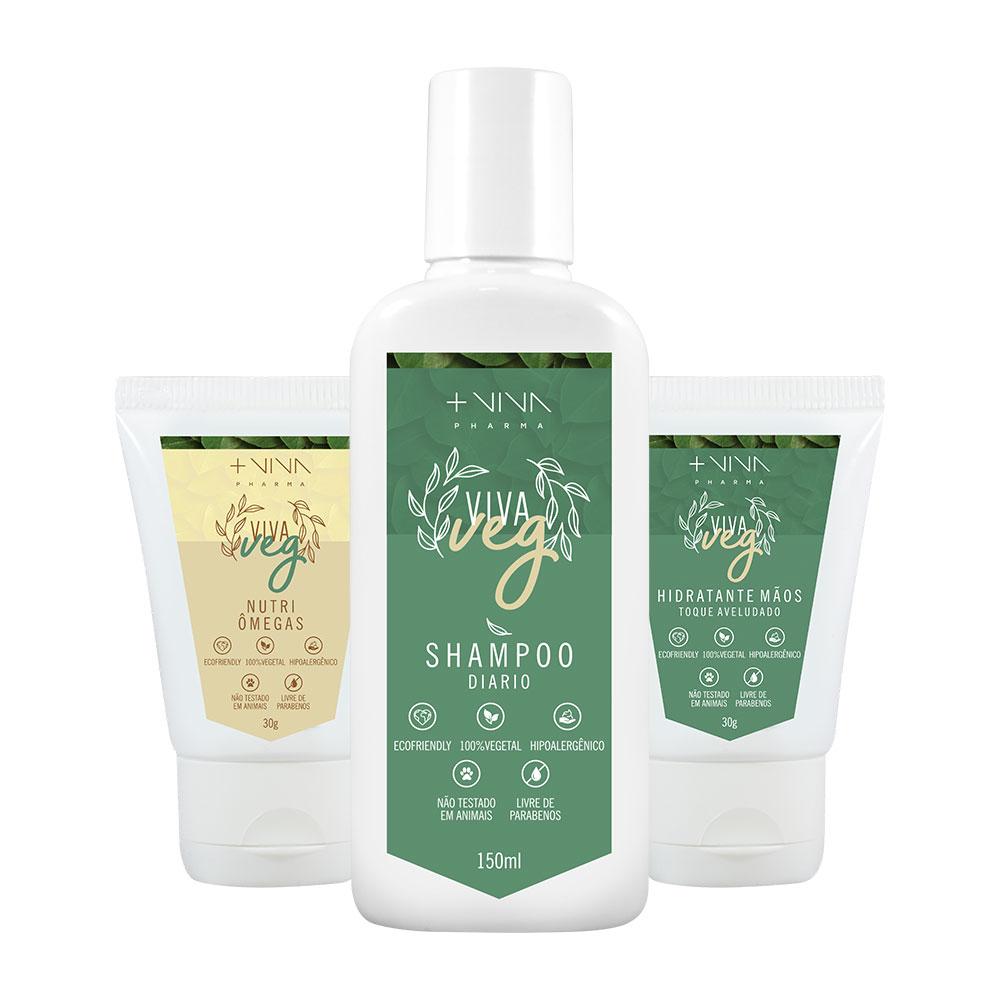 COMBO| Hidratante Mãos Vegano + Nutri Ômegas Vegano + Shampoo Diário Vegano