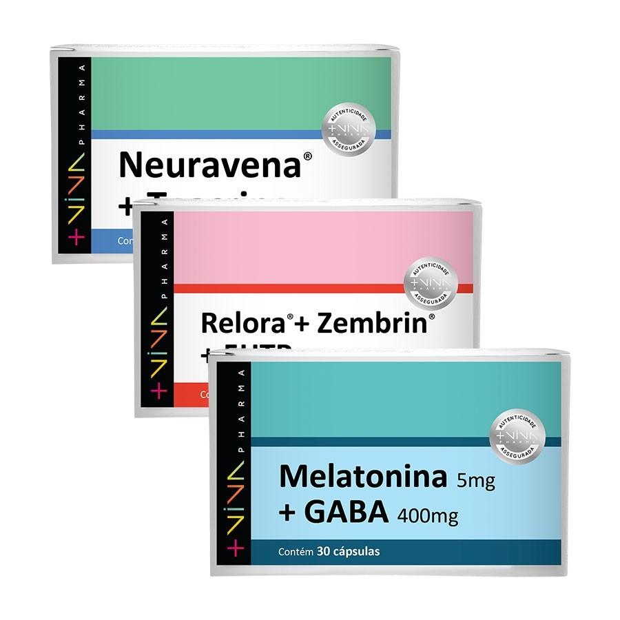 COMBO | Neuravena® + Teacrine 200mg + Relora® + Zembrin® + 5 HTP 535mg + Melatonina 5mg + GABA 400mg
