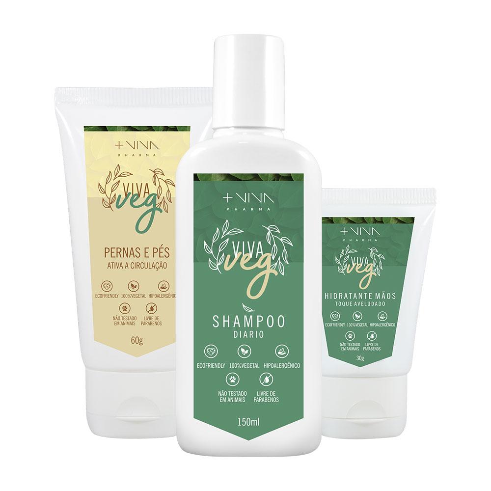 COMBO| Pernas e Pés Vegano + Shampoo Diário Vegano + Hidratante Mãos Vegano