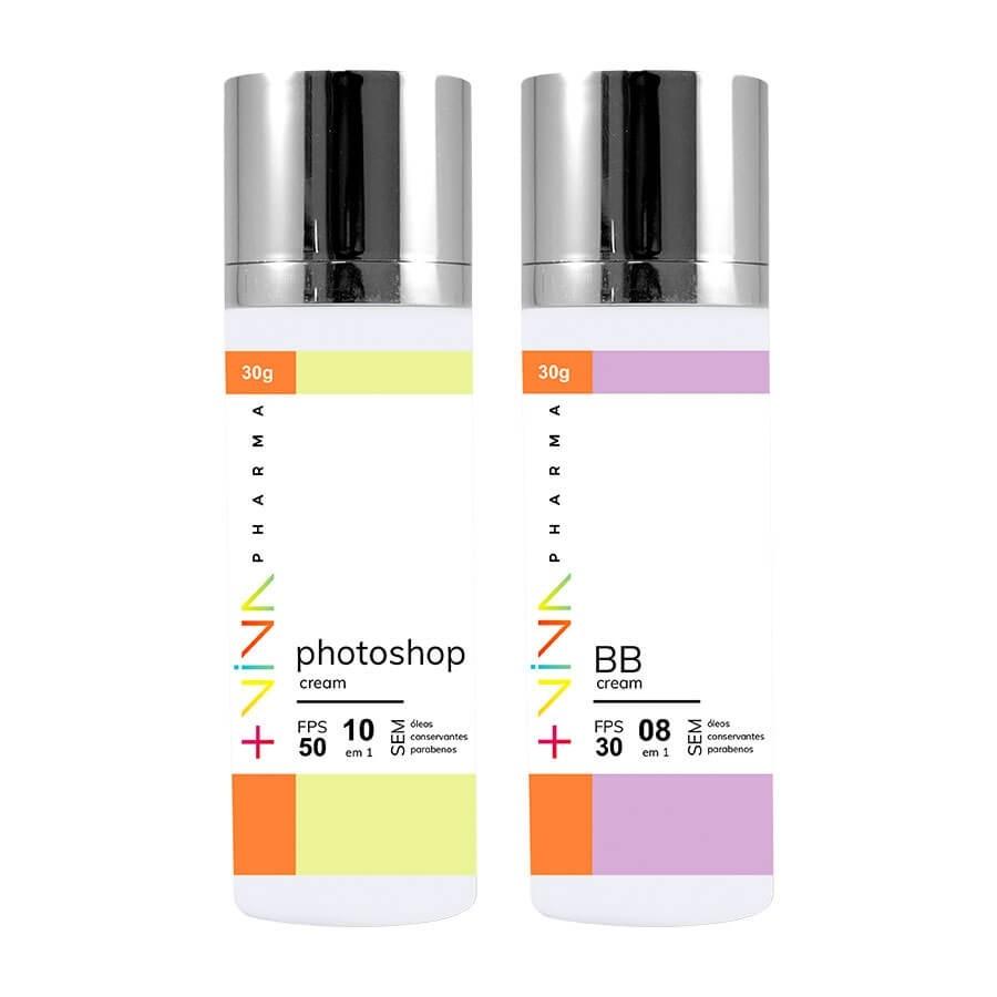 COMBO   Photoshop Cream 10 em 1 FPS 50 + BB Cream 8 em 1 FPS 30