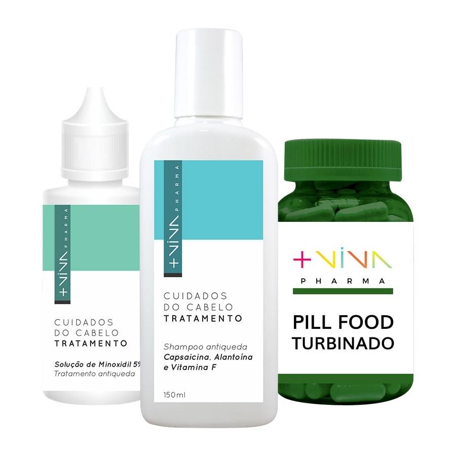COMBO| Pill Food Turbinado + Shampoo Antiqueda Capsaicina +  Solução de Minoxidil 5%