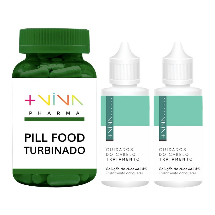 COMBO| Pill Food Turbinado + Solução de Minoxidil 5% - 50ml (2 Unidades)