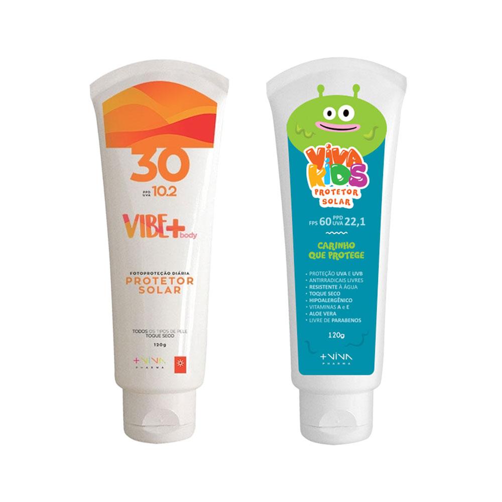 COMBO | Protetor Solar Vibe Body FPS 30 + Protetor Solar Viva Kids FPS 60