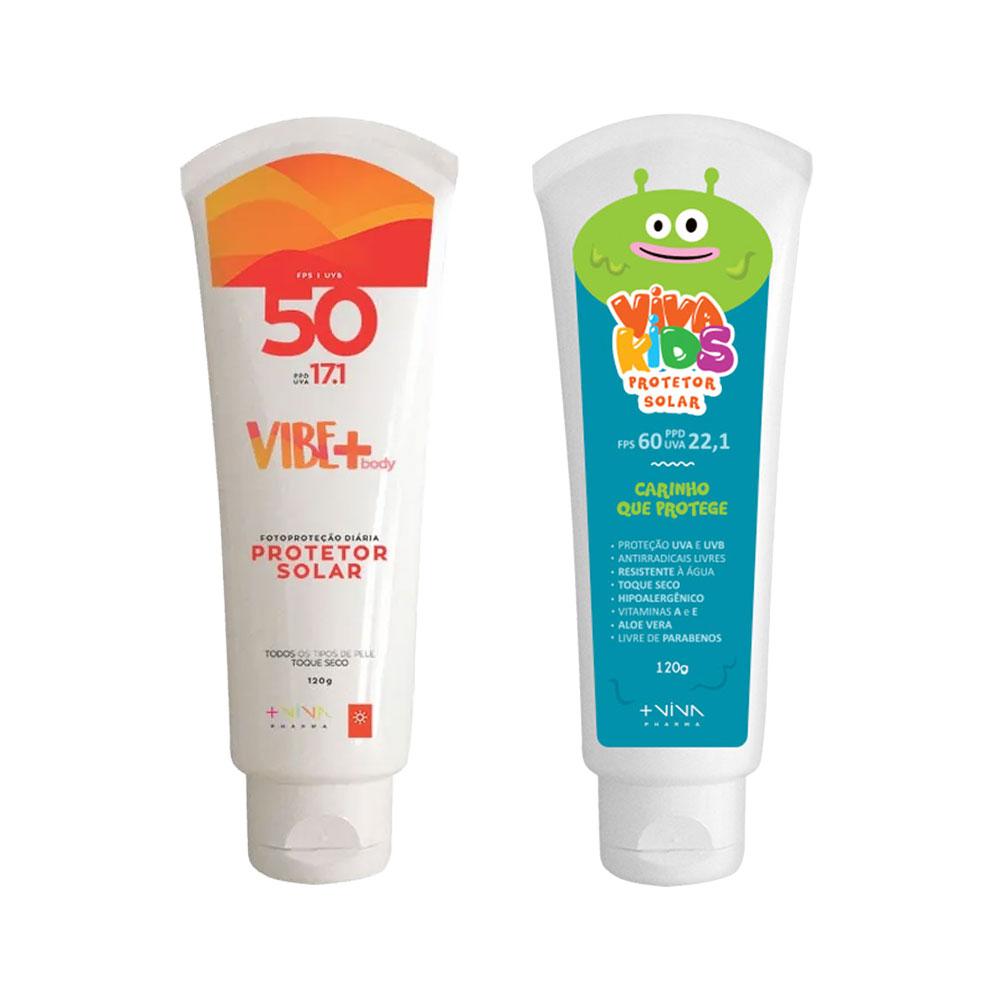 COMBO | Protetor Solar Vibe Body FPS 50 + Protetor Solar Viva Kids FPS 60