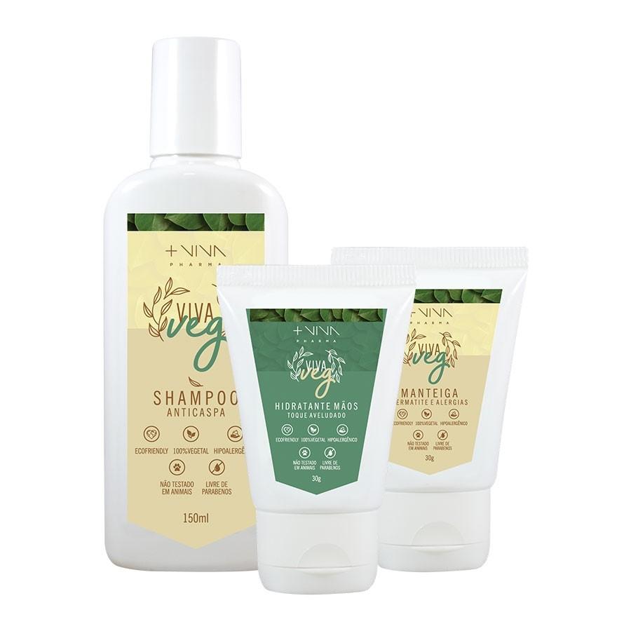 COMBO| Shampoo Anticaspa - Vegano + Manteiga Dermatite e Alergias - Vegano + Hidratante Mãos - Vegano