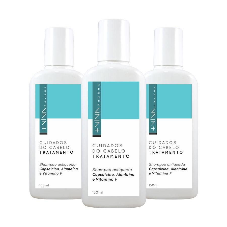 COMBO| Shampoo Antiqueda Capsaicina, Alantoína e Vitamina F (3 Unidades)