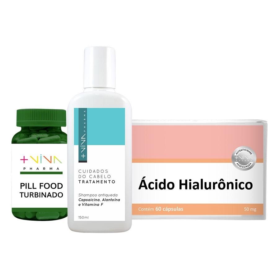 COMBO| Shampoo Antiqueda Capsaicina + Pill Food Turbinado + Ácido Hialurônico