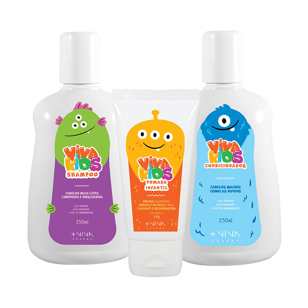 COMBO | Shampoo Viva Kids 250ml + Condicionador Viva Kids 250ml + Pomada Viva Kids 60g