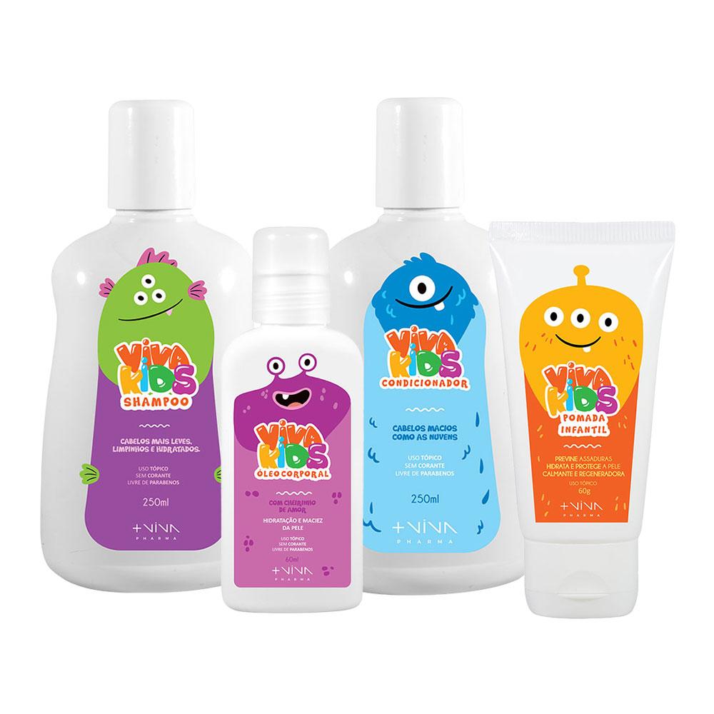 COMBO | Shampoo Viva Kids 250ml + Condicionador Viva Kids 250ml + Pomada Viva Kids 60g + Óleo Corporal Viva Kids 60ml