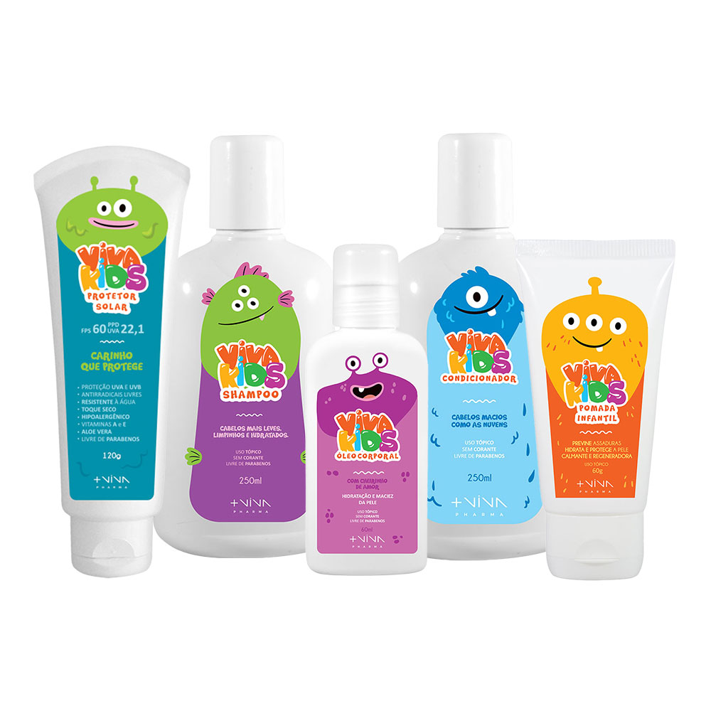 COMBO | Shampoo Viva Kids 250ml + Condicionador Viva Kids 250ml + Pomada Viva Kids 60g + Óleo Corporal Viva Kids 60ml + Protetor Solar FPS 60 120g