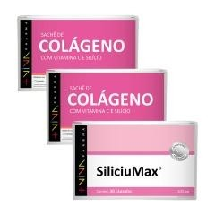 COMBO | SiliciuMax® 100mg + Caixa Colágeno com Vitamina C e Silício (15 sachês) 2 unidades