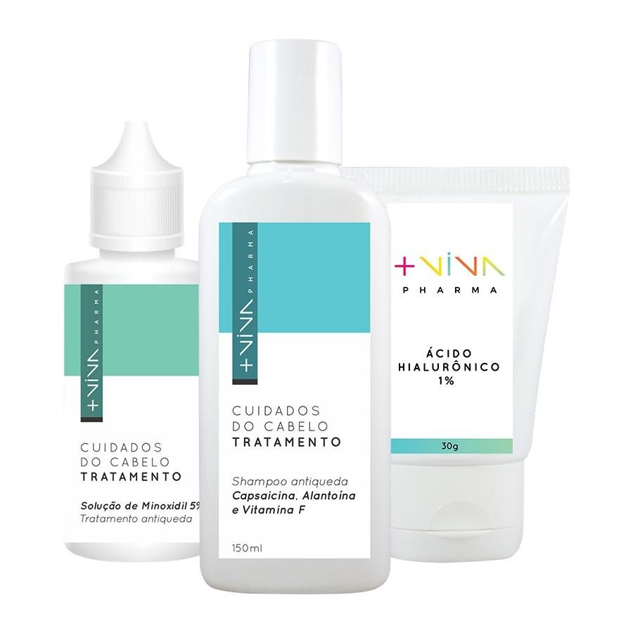 COMBO|  Solução de Minoxidil 5% + Ácido Hialurônico 1% +  Shampoo Antiqueda Capsaicina