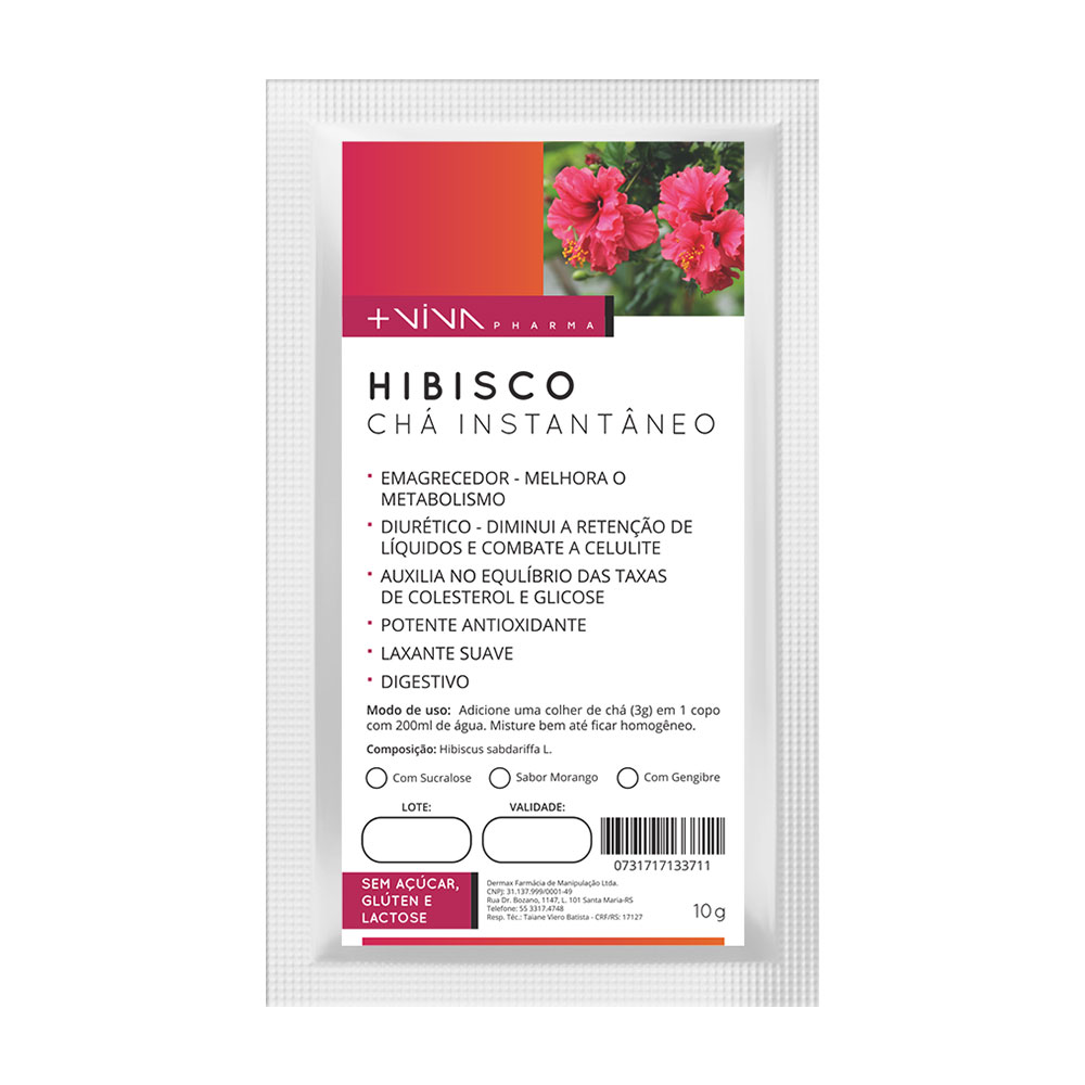 Hibisco Chá Instantâneo 10g-Morango-Com Sucralose-Com Gengibre