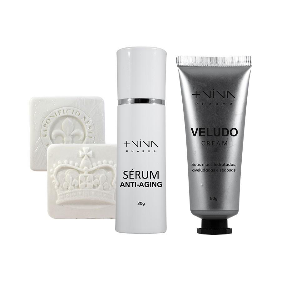 Kit Creme para Mãos + Sérum Anti-Aging + Sabonetes Artesanais