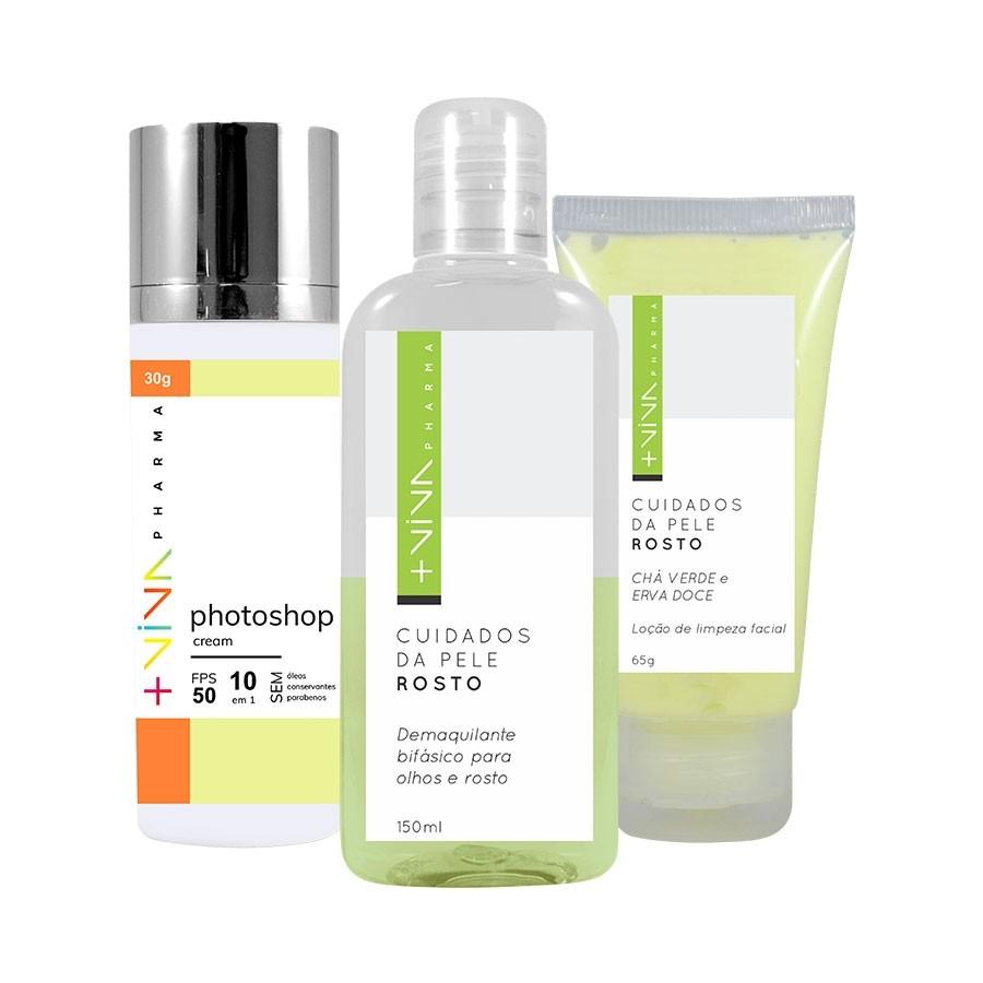 Kit Photoshop Cream + Demaquillante Bifásico + Loção de Limpeza Facial