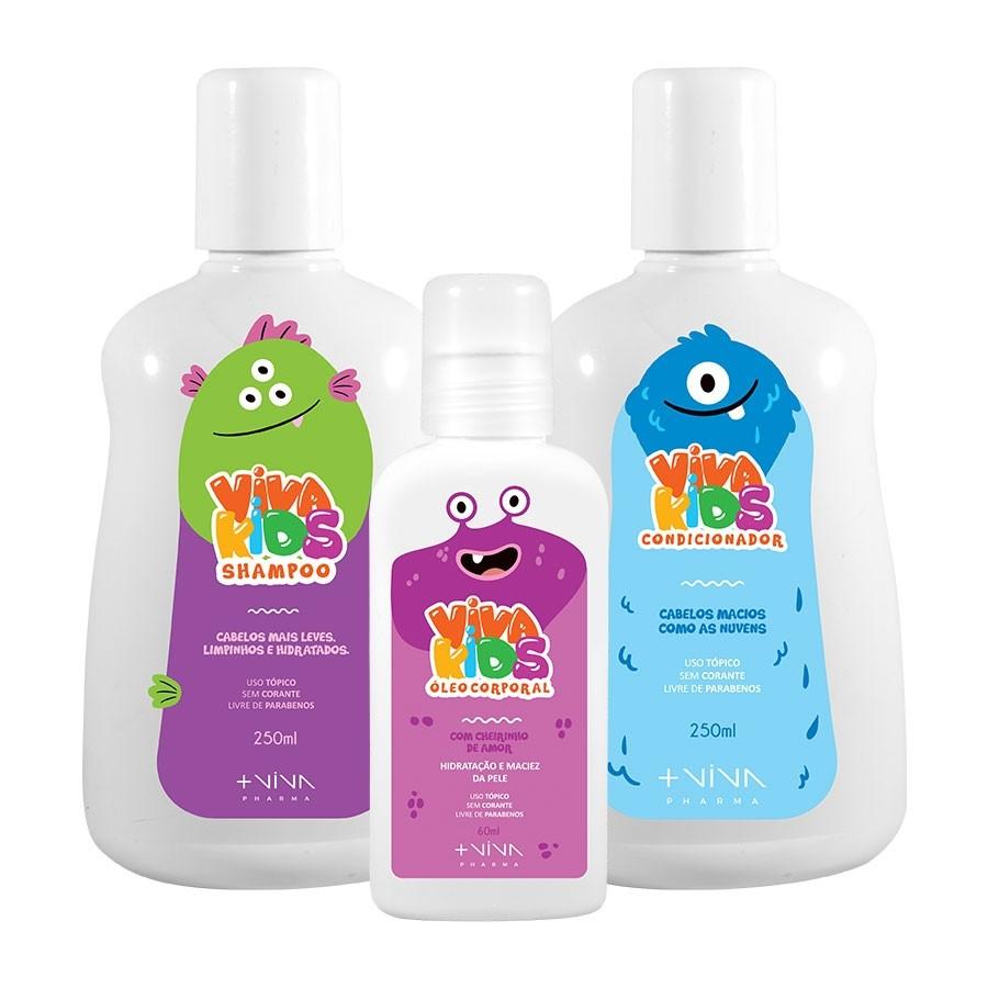 Shampoo Infantil 250ml + Condicionador Infantil 250ml + Óleo Corporal Infantil 60ml | Linha Viva Kids