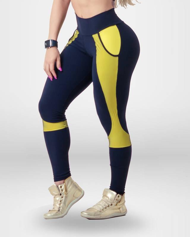 Calça Legging Preta com detalhes amarelo