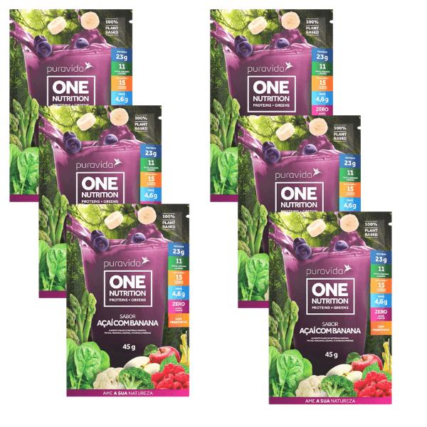 6und Proteína One Vegan Açai E Banana Sachê 45gr - Pura Vida