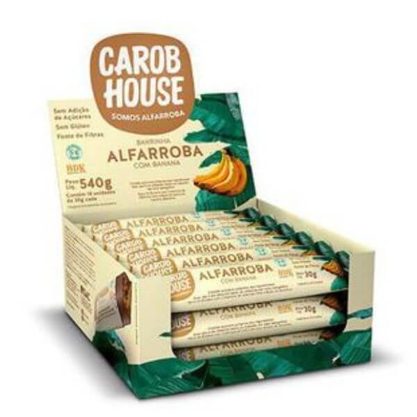 Alfarroba Com Banana Sem Açúcar Caixa com 18un de  30gr - Carob House