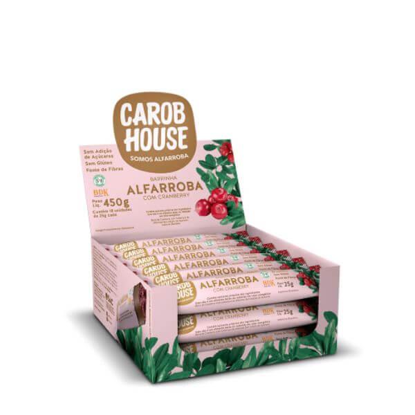 Alfarroba Com Cranberry Sem Açúcar Caixa Com 18Un  450gr - Carob House