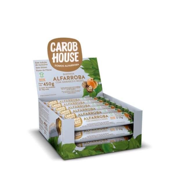 Alfarroba Com/ Damasco E Nozes Caixa Com 18Un  450gr - Carob House