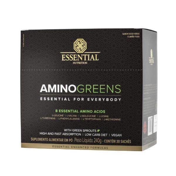 Amino Greens 240gr Caixa com 30 Sachês de 8gr - Essential Nutrition