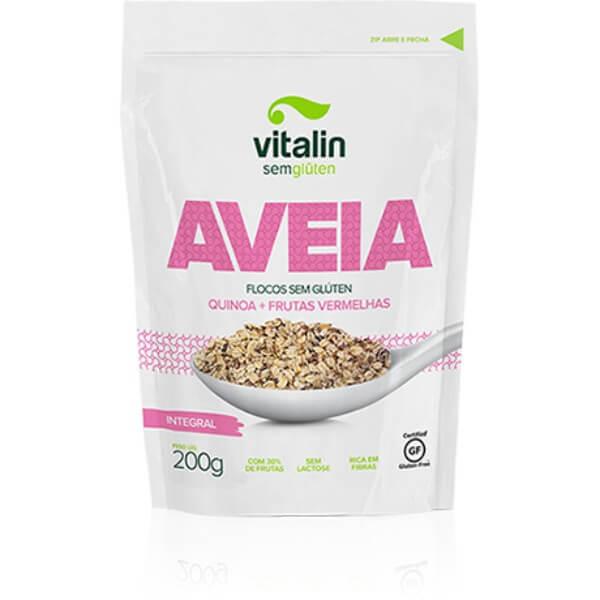 Aveia Em Flocos Com Quinoa Frutas Vermelhas Sem Glúten 200gr - Vitalin