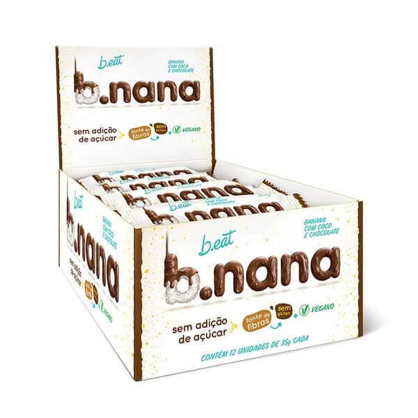 Banana Passa Com Coco E Chocolate Sem Açúcar Display com 12und de 35gr - B.Nana