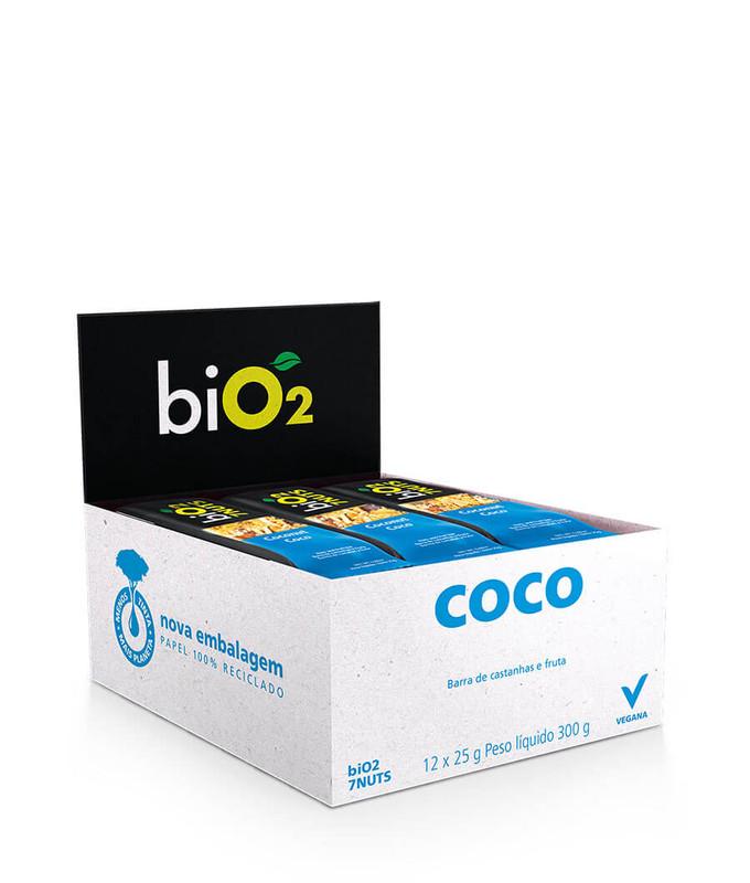 Barra de 7Nuts sabor Coco e Castanhas Vegana Display 12x25g BiO2