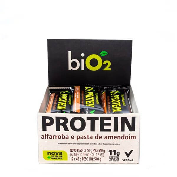 Barra de Proteina sabor Alfarroba e Pasta de Amendoim Vegana Display 12x45g - BiO2