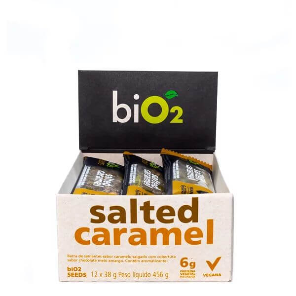 Barra de Sementes sabor Caramelo Salgado Vegana Display 12x38g - BiO2
