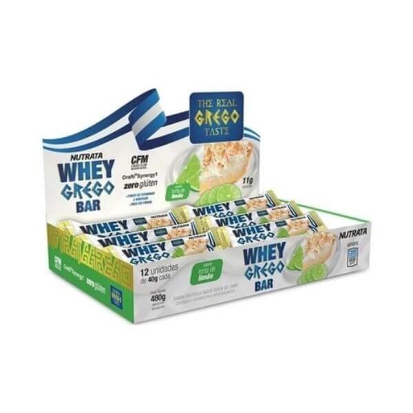 Barra Whey grego Limão Caixa Com 12Un - Nutrata