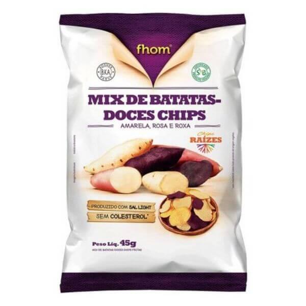 Batata Doce Mix Chips Amarela, Rosada E Roxa 45gr - Fhom