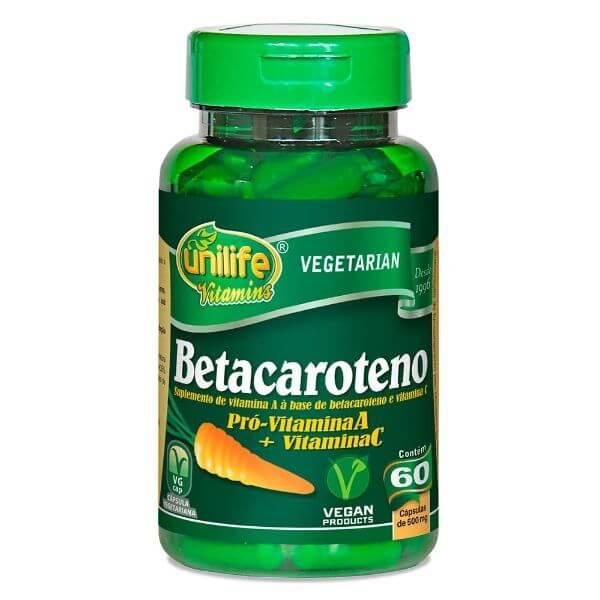 Beta caroteno 500mg 60 Cápsulas - Unilife