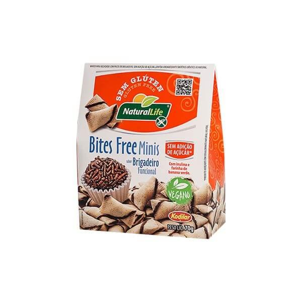 Biscoito Bites Free Minis sabor Brigadeiro Funcional s/ Gluten 70g Natural Life