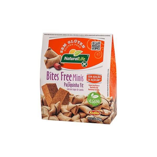 Biscoito Bites Free Minis sabor Pacoquinha Fit s/ Gluten 70g Natural Life