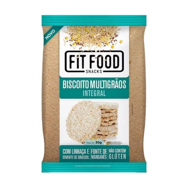 Biscoito De Arroz Natural Sem Glúten 30G Fit food